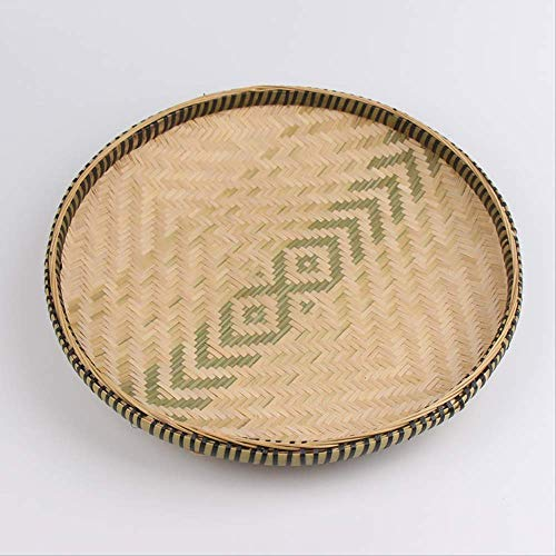GJDBBLY mand vintage rond bamboe geweven pan tea snack plat desktop kleur ecologisch handgemaakt tray