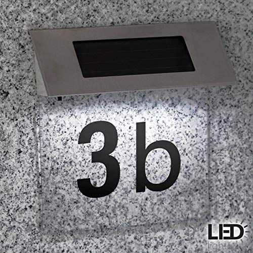 Solar Hausnummer mit transparentem Hintergrund anpassbar durch Zahlen- u. Buchstabenaufkleber