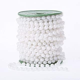 WEISIPU 6mm Pearl Bead Garland Spool Rope Wedding Centerpiece Decor 20M=65ft (white)