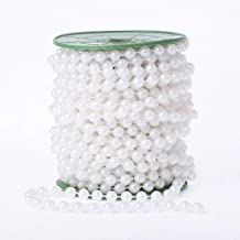 WEISIPU 6mm Pearl Bead Garland Spool Rope Wedding Centerpiece Decor 20M=65ft (white)