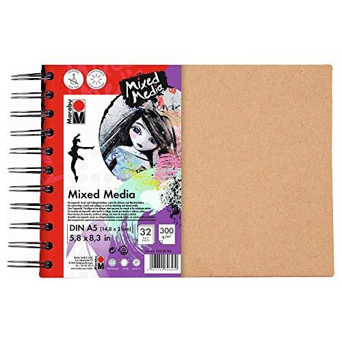 Marabu 1612000000200 - Ringbuch Mixed Media, 300 g/qm, 32 Blatt, DIN A5, weiß, Papier fein gekörnt, säurefrei, lichtbeständig, für Techniken mit hohem Farbanteil, hochwertige Ringbindung