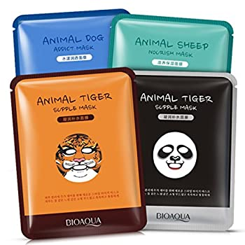 BIOAQUA Moisturizing Face Mask Sheet Enriched with Natural Serum for Radiant and Nourished Skin At Home Spa Facial with Fun Animal Characters  Panda Tiger Sheep Dog  4 Sheets Variety Pack