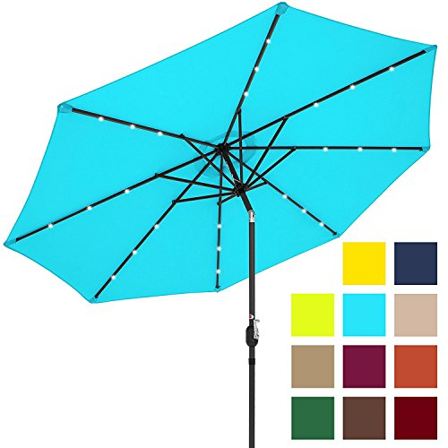 Best Choice Products 10ft Solar LED Lighted Patio Umbrella w/Tilt Adjustment, Fade-Resistant Fabric - Burgundy