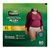 Depend FIT-Flex Incontinence Underwear for Women, Maximum Aobsorbency, XL ;Tan, 80 Count