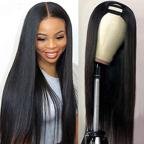 CanaryFly U Part Wigs Human Hair Wigs for Black Women Brazilian Straight Human Hair Wigs None lace front wigs Glueless Natural Color U-part wigs Hair Extension Clip(14inch, U-Part wig)