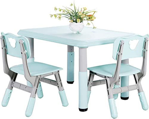 Kinder Tisch und Stuhl Set Kindergarten kann Tische und Stühle anheben Kinder-Studien-Tische und Stühle Baby-frühe Bildung Tische und Stühle Spielzeug (Farbe   Blau, Größe   60  60  60cm)
