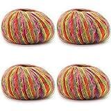 JAP768 4 unids Mohair Hilado Crochet Hilado de Lana de bebé Barato for suéter de Punto 166m 0.9mm ilos for Tejer dedelgado (Color : 4pcs 49)