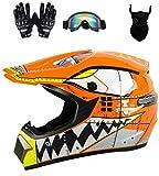Senhill Motocross Helmet ATV Offroad Helmet DOT Helmet Unisex Dirt Bike Motorcycle Helmet with Gloves Goggles Mask (Orange, L)