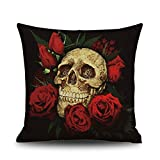 SODIAL(R) Halloween Skull Pattern Square Throw Pillow Case Cushion Cover Sofa Decor, Red+black