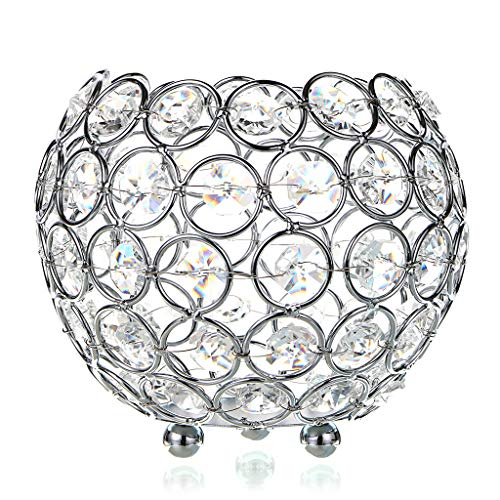 OwnMy 12cm Crystal Bowl Votive Candleholder Sparkly Tea Light Candle Holders Candle Lanterns Decorative Candelabra Vase for Christmas New Year Wedding Table Centerpieces (Silver Tone)