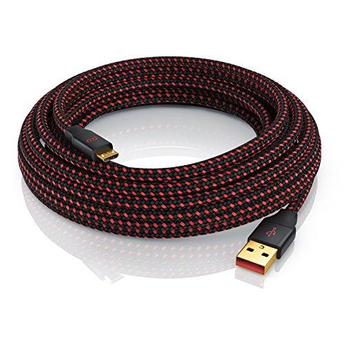 CSL - 1m Micro USB Schnellladekabel mit Datenübertragung - Nylonmantel besonders strapazierfähig - UltimateCharge 18 24 AWG optimiert für Ladevorgänge - vergoldete Kontakte