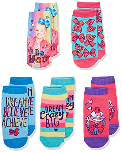 Jojo Siwa girls Jojo Siwa Girl's 5 Pack Shorty Casual Sock, Assorted Shorty, Shoe Size 7.5 - 8.5, Size 6 - 8.5