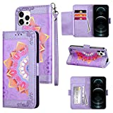 Coolden Compatible with iPhone 12 Pro Max Wallet Case with Card Holder Slot PU Leather Magnetic Button Kickstand Wrist Strap Printing Flower Pattern Slim Flip Folio Protective Cover Purple