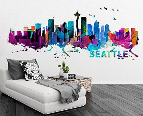 Moonwallstickers Seattle Skyline Watercolor City Grunge Stampa Decal–145x 59,9cm   145x 60cm