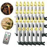 Froadp 30 Stück Dimmbare LED Mini Weihnachtskerzen mit Fernbedienung Kabellos Christbaumkerzen für Weihnachtsbaum deko Geburtstagsdeko Kerzen Satz(Warmweiß)