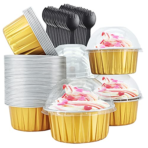 Cupcake Liners with Dome Lids 50 Pack,Free-Air 5oz Aluminum Foil Baking Cups Muffin Tin,Souffle Dessert Pudding Ramekin Holders for Individual Bakery Wedding Birthday Party,with 50 Spoons-Gold