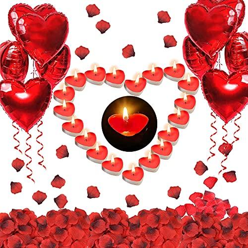 Punvot Kit Romántico de Velas y Pétalos, 50 Velas en Forma de Corazón + 1000 Piezas Pétalos de Rosa + 10 Globos Corazón Rojo, para Decoración Boda Pastel San Valentín Aniversarios y Compromiso Cena