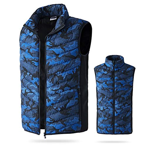 MODOQO Heated Vest Rechargeable Electric Vest for Men Outdoor Motorcycle,Hiking,Snowboating Blue