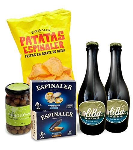 Pack Aperitivo Gourmet Green con berberechos, mejillones, patatas fritas, aceitunas y cervezas