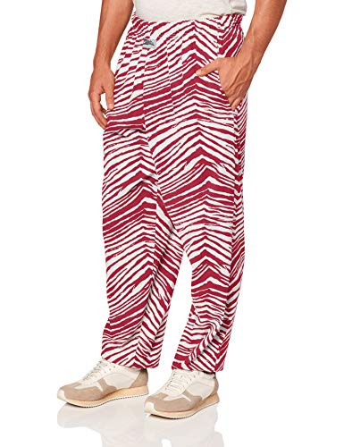 Zubaz Men's Classic Zebra Printed Athletic Lounge Pants, New Maroon/White, L
