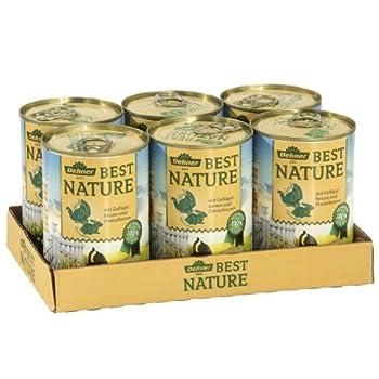 Dehner Best Nature Nourriture pour Chat Adulte Goût cœurs de volaille et Lapin 6 boîtes de 400 g chacune (2,4 kg)