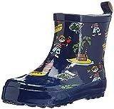Playshoes Kinder Halbschaft-Gummistiefel aus Naturkautschuk, trendige Unisex Regenstiefel mit Reflektoren, mit Piraten-Muster, Blau (Marine), 22 EU