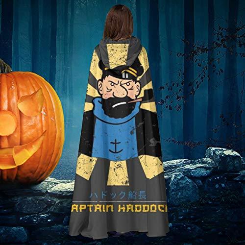 NULLYTG Capitn Haddock Tintn Japons Retro Unisex Navidad Halloween Bruja Caballo con Capucha Vampiros Capa Cosplay Disfraz