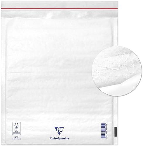 Clairefontaine 7345C - Un paquet de 10 pochettes blanches matelassées de film à bulles 22x26 cm 90g