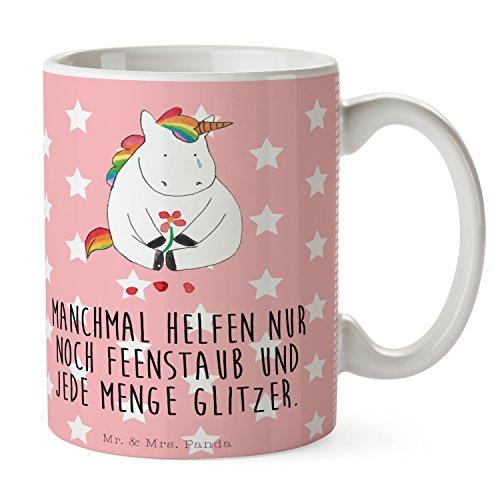 Mr. & Mrs. Panda Frühstück, Büro, Tasse Einhorn Traurig mit Spruch - Farbe Rot Pastell