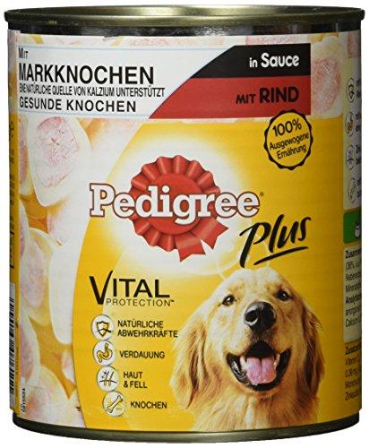 Pedigree Plus Hundefutter Nassfutter mit Markknochen und Rind in Sauce, 12 Dosen (12 x 800g)