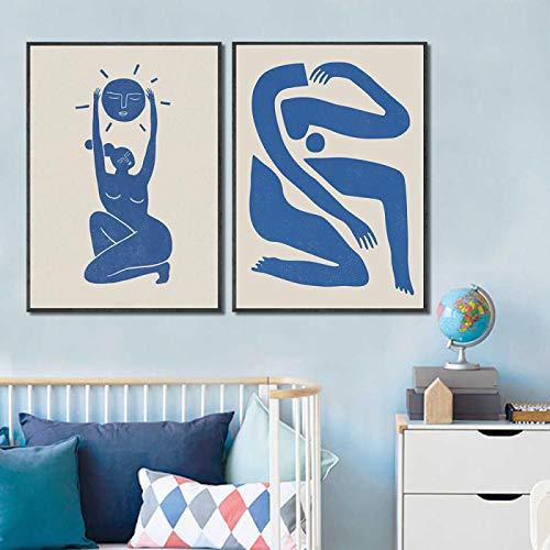 Guerrier pacifique impression bleu style illustration affiche mur Art figure et impression moderne minimaliste salon décor 70x100cm-2 pièces sans cadre