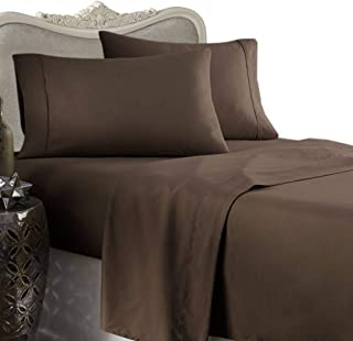 Luxurious Six (6) Piece Mocha Solid Solid Solid/Plain, Queen Size, 1000 Thread Count Ultra Soft Single-Ply 100% Egyptian Cotton, Extra Deep Pocket Bed Sheet Set with Four (4) Pillow Cases1000TC