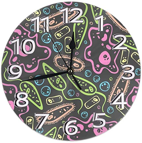 Wanduhr unter dem Mikroskop, dekorative Wanduhr, leise, nicht tickend – 24,9 cm, rund, leicht zu lesen, dekorativ für Zuhause/Büro/Schule