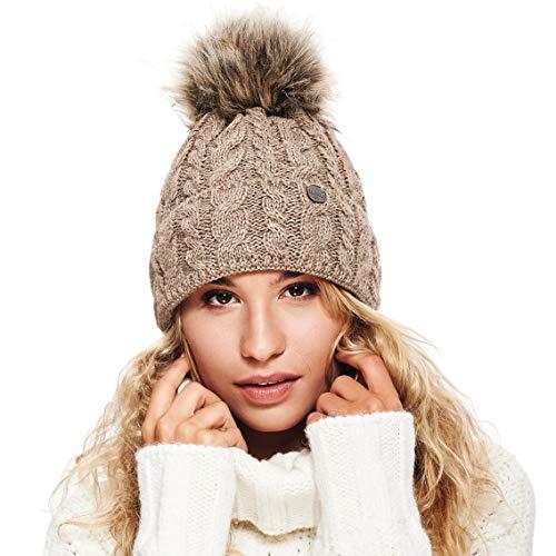 EliMeli® Damen Winter Mütze warme Strickmütze Wintermütze mit Bommel Slouch Strick Beanie Damen für Winter Bommelmütze Hergestellt in EU Farbenauswahl 15568 (Cappuccino)