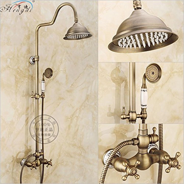 Bad Retro Antik Kupfer Messing Badewanne Dusche Set Wandmontage 8 Regendusche Mischbatterie Wasserhahn 3-Funktionen Mischventil