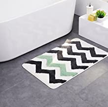 Microfiber Mat Rug Bath Mat Non-Slip Pad with Green and Grey Stripes for Kitchen Indoor Rugs Bathroom Mats
