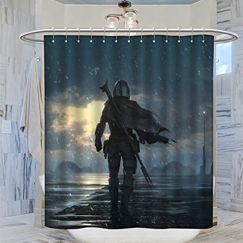 Wasserdichter Duschvorhang, Mandalorianisches Star Wars-Motiv, maschinenwaschbar, 183 x 183 cm