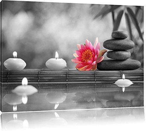 Seerose neben Zen Steinen und Kerzen schwarz/weiß Format: 60x40 auf Leinwand, XXL riesige Bilder fertig gerahmt mit Keilrahmen, Kunstdruck auf Wandbild mit Rahmen, günstiger als Gemälde oder Ölbild, kein Poster oder Plakat