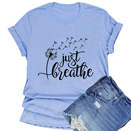 Flovex Women's Graphic T-Shirts Casual Summer Short Sleeve Funny Just Breathe Dandelion Mountain Tee Shirts (Blue, Small)