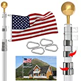 GUOHONG 30FT Telescopic Flag Pole,Heavy Duty Aluminum Flag Pole Kit Outdoor,with 3'x5' American Flag and Golden Ball for Commercial Residential Yard