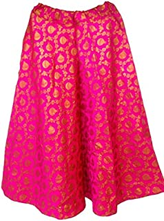 FEMEZONE Brocadesilk Ethnic Traditional Lehenga/Skirt for Party/Festival function,pink