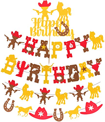 Cowboy Theme Birthday Banner, Western Cowboy Theme Birthday Banners, Cowboy Birthday Party Supplies Favors, Boots Horses Horseshoes Garland for Kid, Amazing Boy Party Decorations for Perfect Birthday