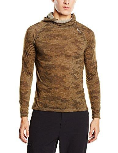 Odlo t-Shirt à Manches Longues avec Capuche et Masque revolutio planai XXL Multicolore - Camouflage - Camou Green