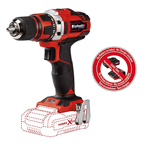 Einhell TE-CD Power X-Change 18-Volt Cordless 1/2-Inch, MAX 1500 RPM, 354 Inch-lbs, Cordless Drill/Driver w/Belt Clip, LED, Soft Grip, 2 Speed Gearing, 20+1 Torque Settings, Quick Stop System