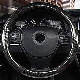 Cubierta del volante de 38CM Costuras de fibra de carbono Antideslizante Universal Black Set Accesorio Herramienta