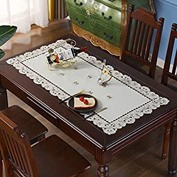 Brown Flower Embroidered lace Small Coffee Table Tablecloth Rectangular