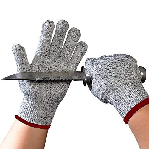 ConPush Schnittschutzhandschuhe mit High Performance Level 5 Schutz, Gestrickt Handschuhe für Gartenbau/Baustelle/Küche (S)