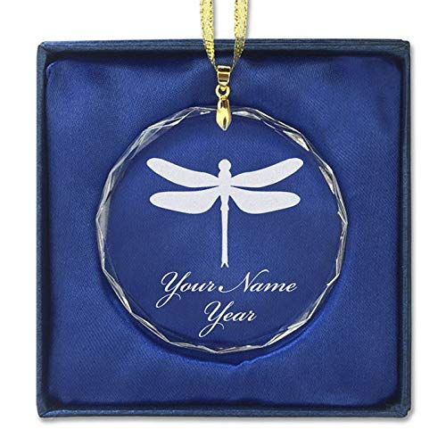 LaserGram Christmas Ornament, Dragonfly, Personalized Engraving Included (Round Shape)