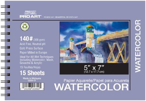 PRO ART 5-Inch by 7-Inch Watercolor Paper Spiral Pad 140-Pound