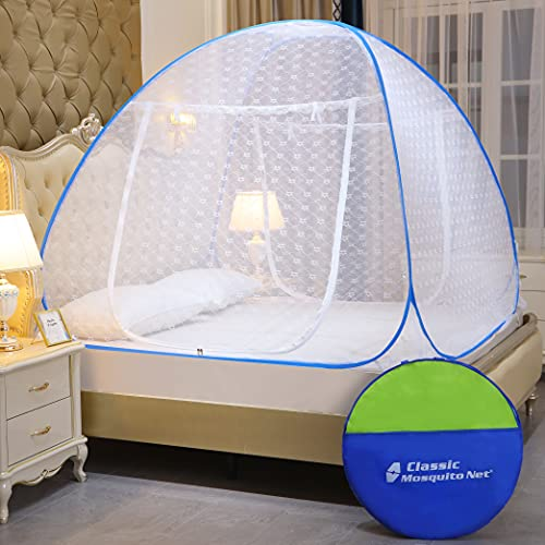 Classic Mosquito Net, Polyester, Embroidery Foldable for Double Bed - King Size, Blue